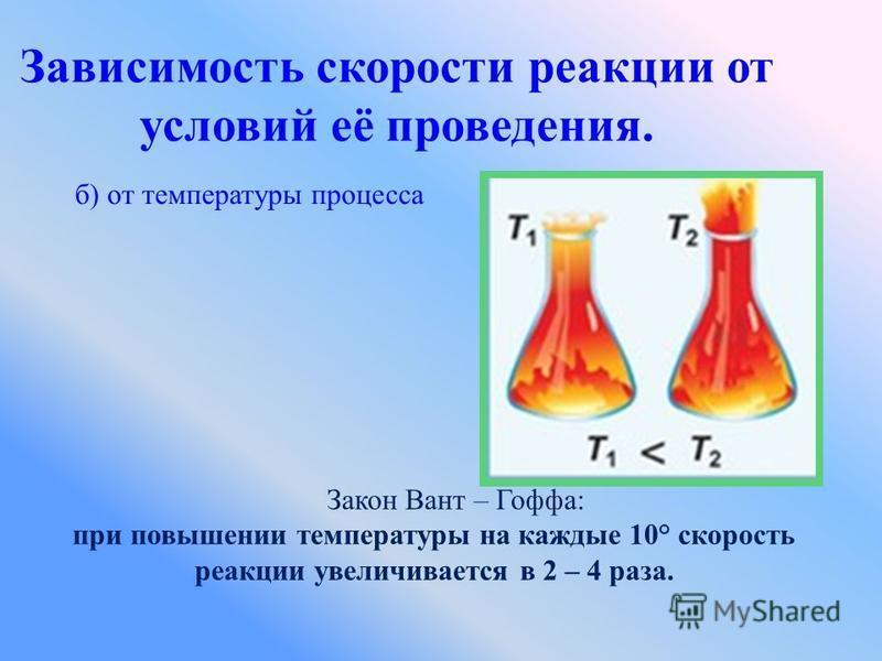 Зависимость скорости реакции от условий её проведения. б) от температуры процесса Закон Вант – Гоффа: при повышении температуры на каждые 10° скорость реакции увеличивается в 2 – 4 раза.