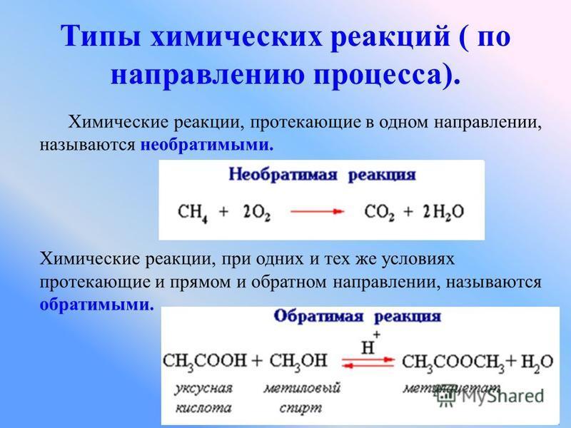 Химические реакции, протекающие в одном направлении, называются необратимыми. Химические реакции, при одних и тех же условиях протекающие и прямом и обратном направлении, называются обратимыми. Типы химических реакций ( по направлению процесса).