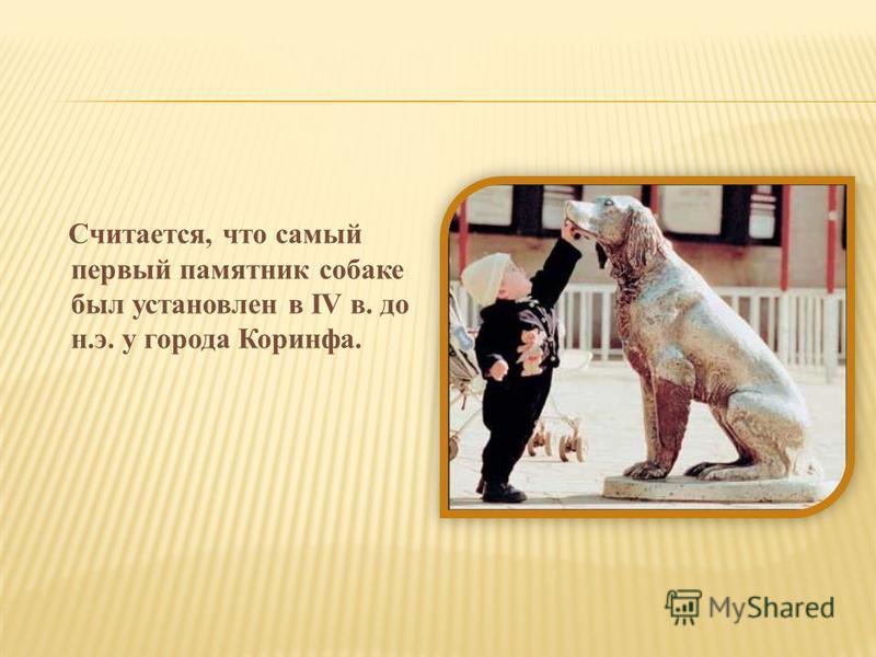 Считается, что самый первый памятник собаке был установлен в IV в. до н.э. у города Коринфа.