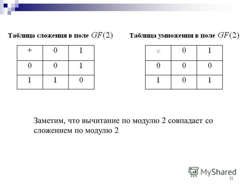 11 Заметим, что вычитание по модулю 2 совпадает со сложением по модулю 2
