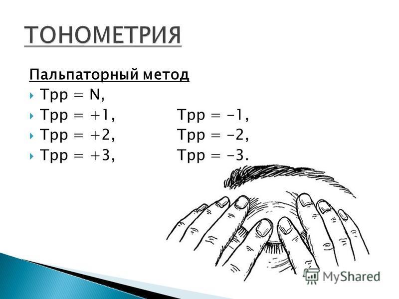 Пальпаторный метод Tрр = N, Трр = +1, Трр = -1, Трр = +2, Трр = -2, Трр = +3, Трр = -3.