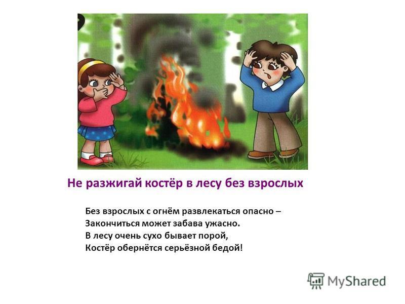Не разжигай костёр в лесу без взрослых Без взрослых с огнём развлекаться опасно – Закончиться может забава ужасно. В лесу очень сухо бывает порой, Костёр обернётся серьёзной бедой!