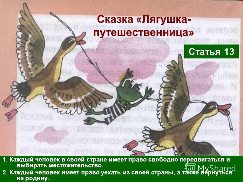Сказка «Лягушка- путешественница» 1. Каждый человек в своей стране имеет право свободно передвигаться и выбирать местожительство. 2. Каждый человек имеет право уехать из своей страны, а также вернуться на родину. Статья 13