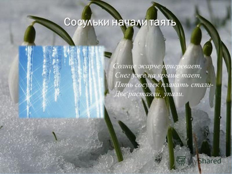 Тают весело снега, снега, Вместо улицы- река. В ней малиновый закат Искупаться очень рад.