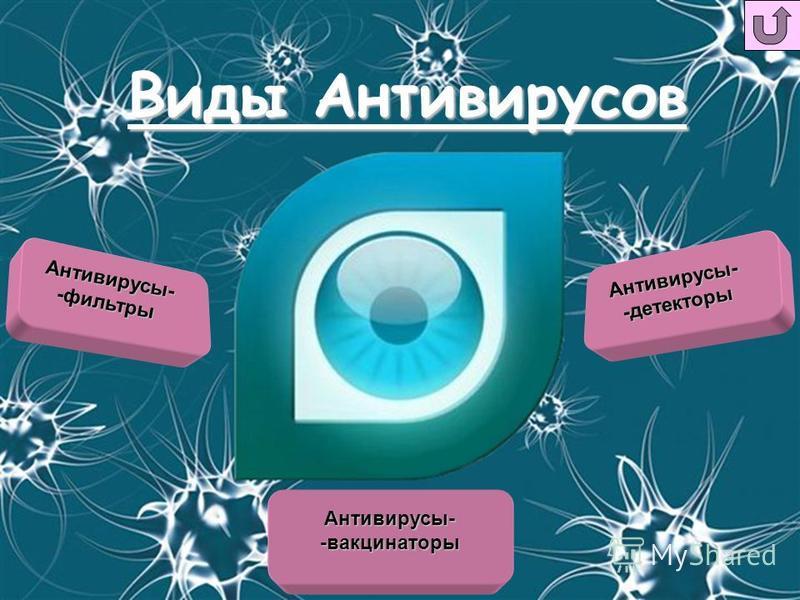 Виды Антивирусов Антивирусы--фильтры Антивирусы--детекторы Антивирусы--вакцинаторы