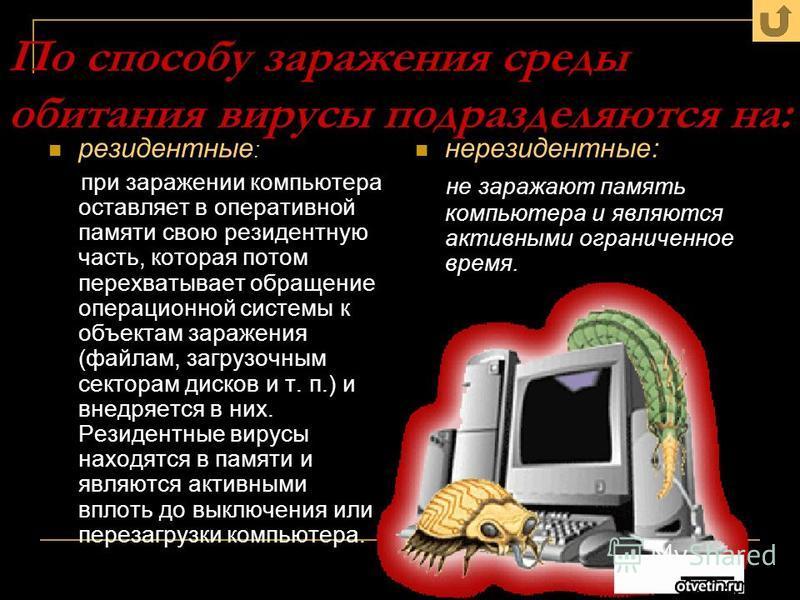 По способу заражения среды обитания вирусы подразделяются на: резидентные : при заражении компьютера оставляет в оперативной памяти свою резидентную часть, которая потом перехватывает обращение операционной системы к объектам заражения (файлам, загру