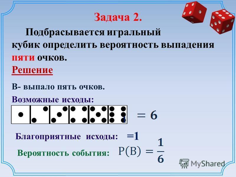 Задача 2. Подбрасывается игральный кубик определить вероятность выпадения пяти очков. Решение Возможные исходы: Вероятность события: Благоприятные исходы: 1 В- выпало пять очков. =1