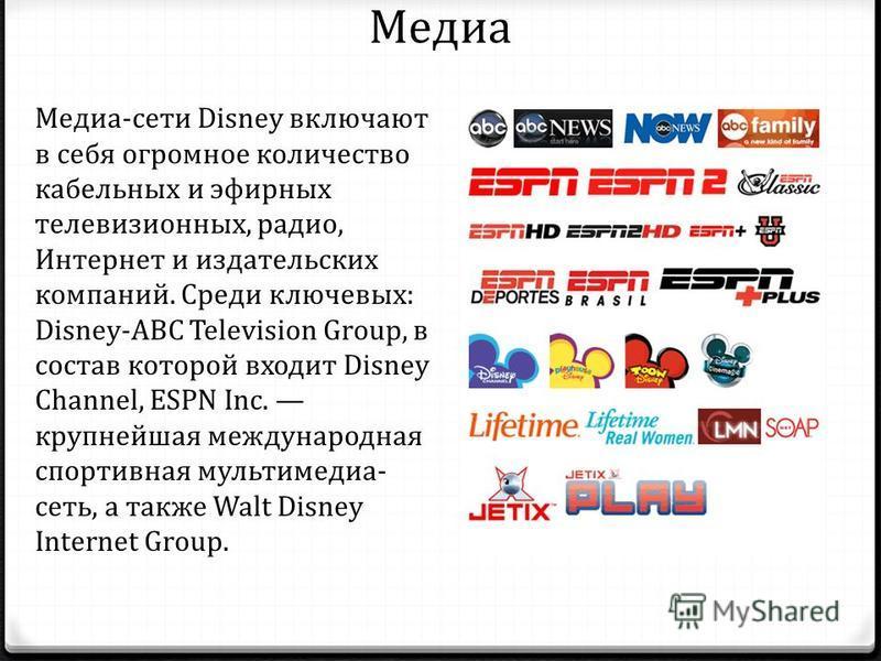 Медиа Медиа-сети Disney включают в себя огромное количество кабельных и эфирных телевизионных, радио, Интернет и издательских компаний. Среди ключевых: Disney-ABC Television Group, в состав которой входит Disney Channel, ESPN Inc. крупнейшая междунар