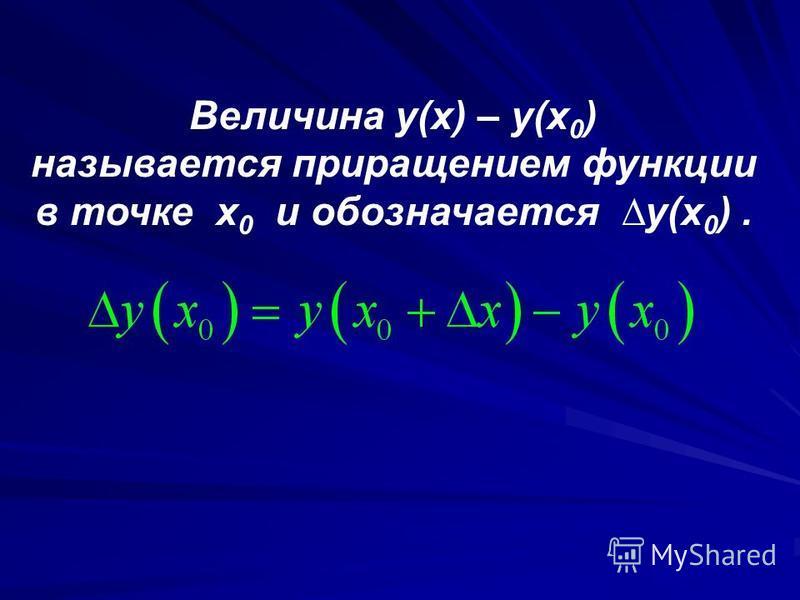 Величина y(x) – y(x 0 ) называется приращением функции в точке x 0 и обозначается y(x 0 ).