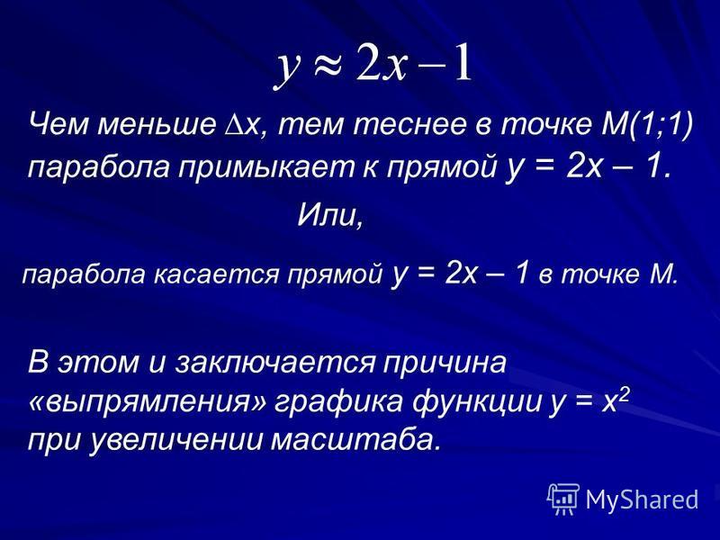Чем меньше x, тем теснее в точке М(1;1) парабола примыкает к прямой y = 2x – 1. Или, парабола касается прямой y = 2x – 1 в точке М. В этом и заключается причина «выпрямления» графика функции y = x 2 при увеличении масштаба.