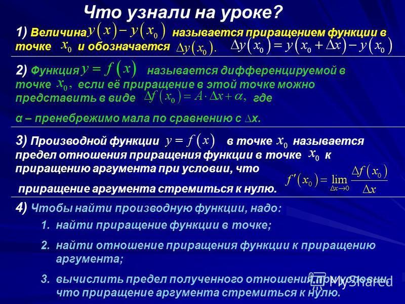 Что узнали на уроке? 1) Величина называется приращением функции в точке и обозначается 2) Функция называется дифференцируемой в точке если её приращение в этой точке можно представить в виде где α – пренебрежимо мала по сравнению с х. 3) Производной