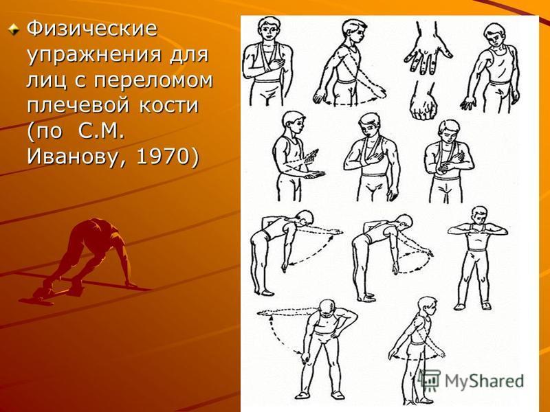 Физические упражнения для лиц с переломом плечевой кости (по С.М. Иванову, 1970)