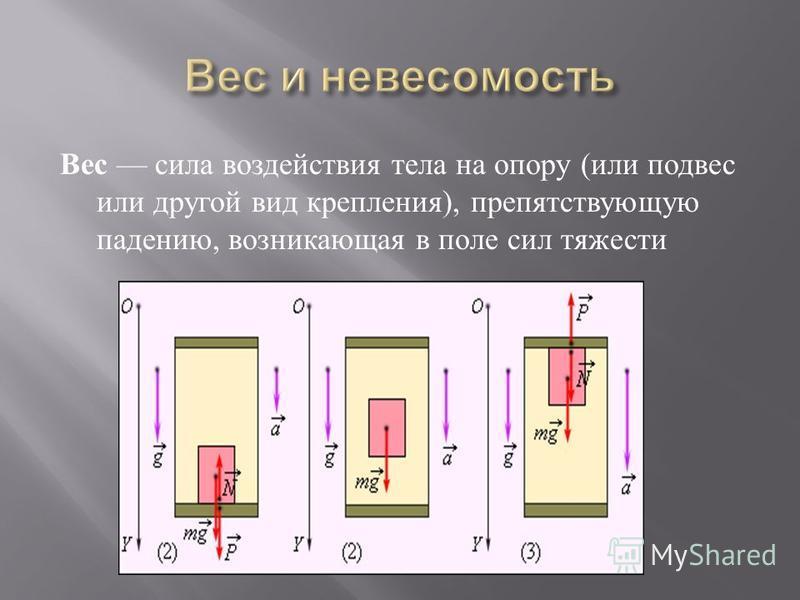 Вес сила воздействия тела на опору ( или подвес или другой вид крепления ), препятствующую падению, возникающая в поле сил тяжести