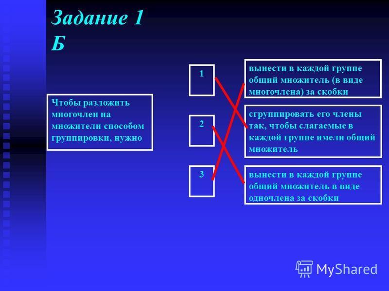 Задание 1 Б Чтобы разложить многочлен на множители способом группировки, нужно вынести в каждой группе общий множитель (в виде многочлена) за скобки сгруппировать его члены так, чтобы слагаемые в каждой группе имели общий множитель вынести в каждой г