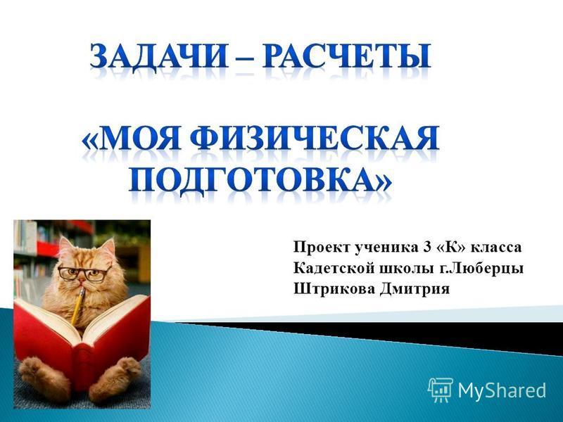 Проект ученика 3 «К» класса Кадетской школы г.Люберцы Штрикова Дмитрия