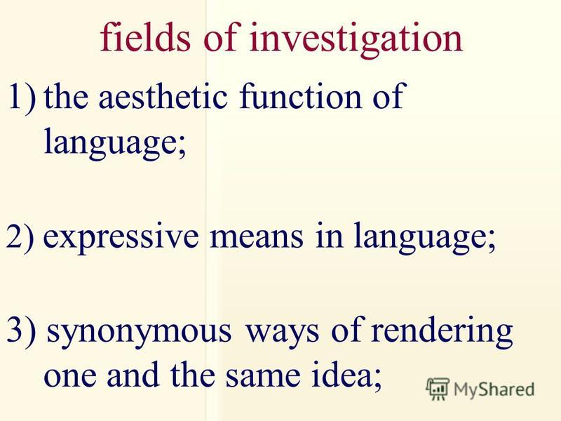 fields of investigation 1)the aesthetic function of language; 2) expressive means in language; 3) synonymous ways of rendering one and the same idea;