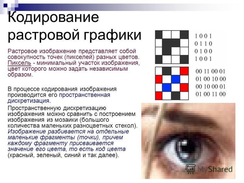 Растровое изображение представляет собой совокупность точек (пикселей) разных цветов. Пиксель - минимальный участок изображения, цвет которого можно задать независимым образом. В процессе кодирования изображения производится его пространственная диск