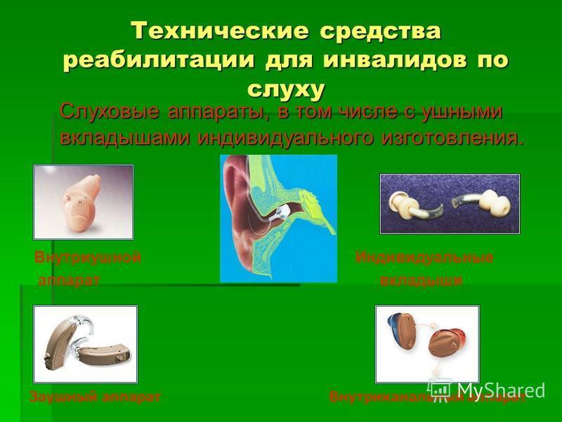 Технические средства реабилитации для инвалидов по слуху Слуховые аппараты, в том числе с ушными вкладышами индивидуального изготовления. Внутриушной Индивидуальные аппарат вкладыши Заушный аппарат Внутриканальный аппарат