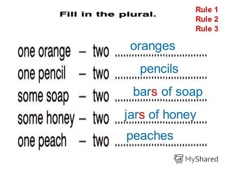 Rule 1 oranges pencils bars of soap jars of honey Rule 2 Rule 3 peaches