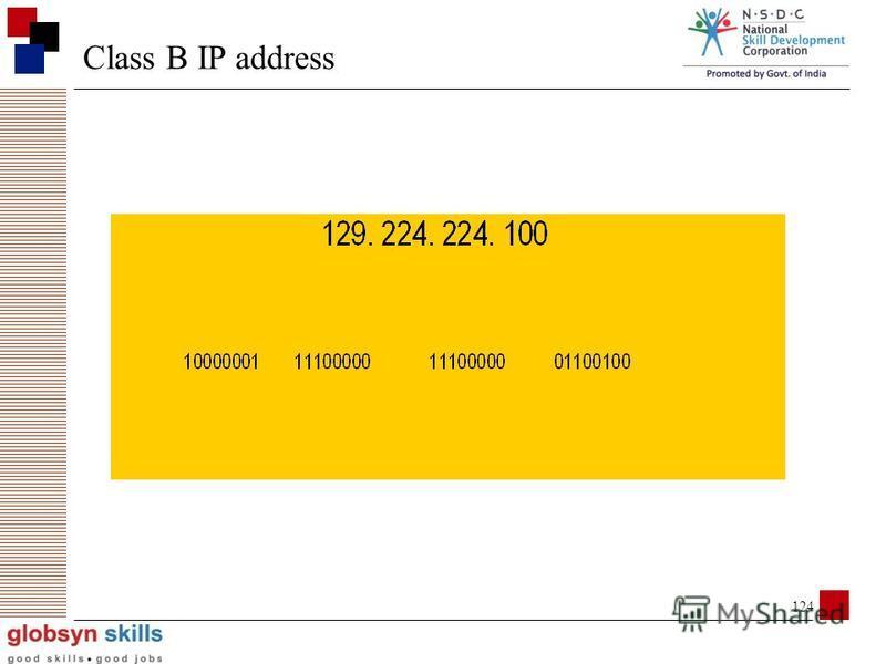 123 Class B IP address 1st 2 octets = network address, octets 3-4 = host address 1st 2 bits of 1st octet set to 10 up to (2^ 16 - 2) host addresses (65534)