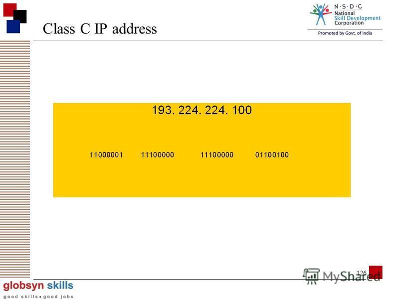 125 Class C IP address 1st 3 octets = network address, octet 4 = host address 1st 3 bits of 1st octet set to 110 up to (2^ 8 - 2) host addresses (254)
