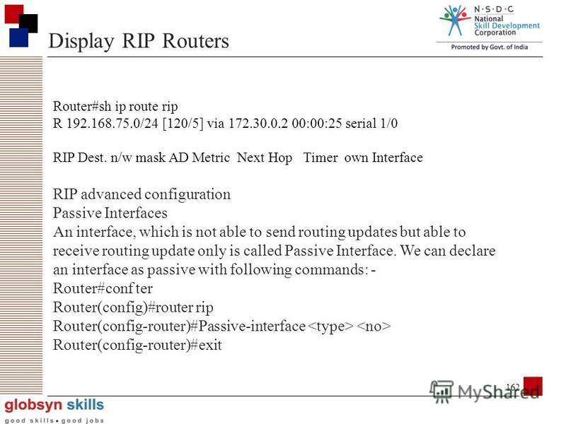161 Configuring RIP R1 10.0.0.1 172.16.0.5 175.2.1.1 200.100.100.12 172.16.0.6