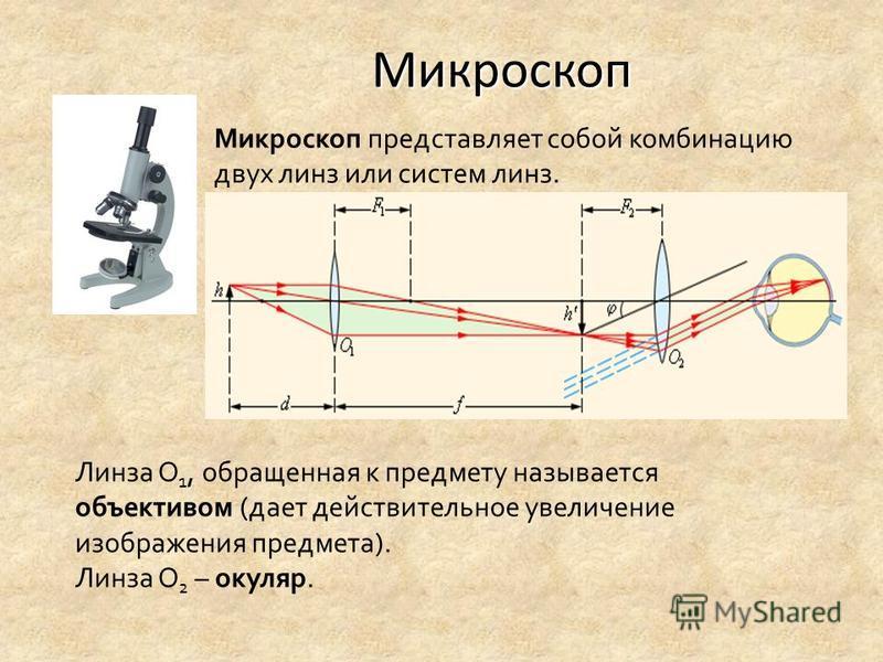 Микроскоп Микроскоп представляет собой комбинацию двух линз или систем линз. Линза О 1, обращенная к предмету называется объективом (дает действительное увеличение изображения предмета). Линза О 2 – окуляр.