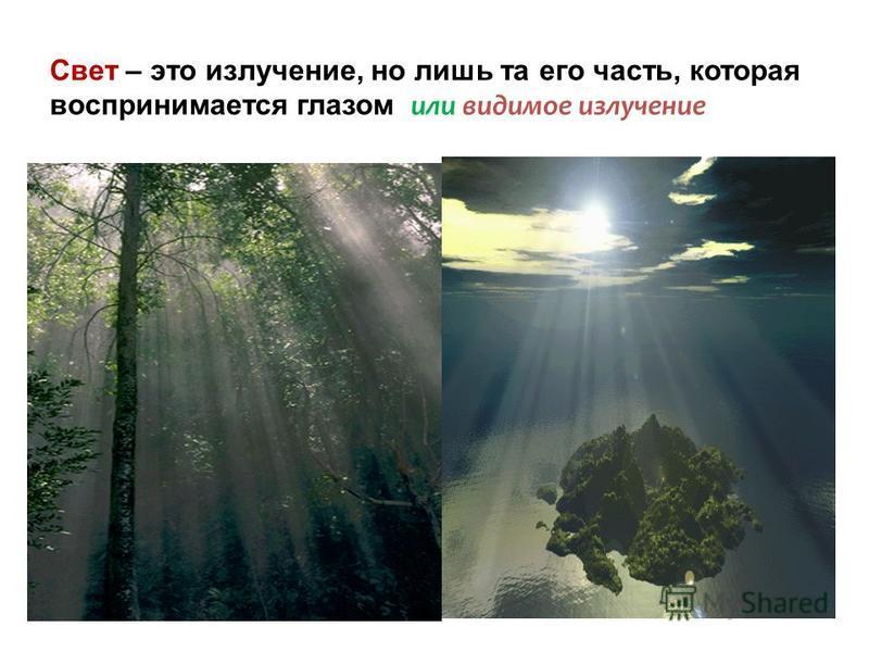Свет – это излучение, но лишь та его часть, которая воспринимается глазом или видимое излучение