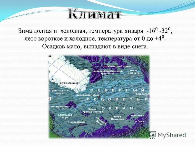 Зима долгая и холодная, температура января -16 -32, лето короткое и холодное, температура от 0 до +4. Осадков мало, выпадают в виде снега.