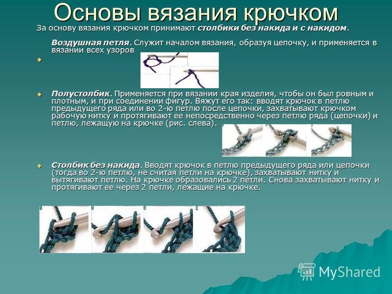 Основы вязания крючком За основу вязания крючком принимают столбики без накида и с накидом. Воздушная петля. Служит началом вязания, образуя цепочку, и применяется в вязании всех узоров Полустолбик. Применяется при вязании края изделия, чтобы он был