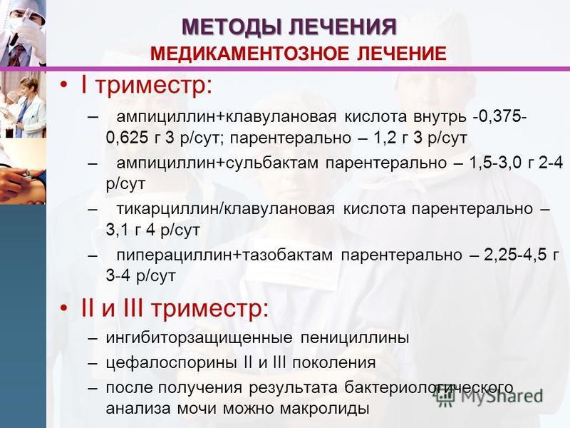 МЕТОДЫ ЛЕЧЕНИЯ I триместр: – ампициллин+клавулановая кислота внутрь -0,375- 0,625 г 3 р/сут; парентерально – 1,2 г 3 р/сут –ампициллин+сульбактам парентерально – 1,5-3,0 г 2-4 р/сут –тикарциллин/клавулановая кислота парентерально – 3,1 г 4 р/сут –пип