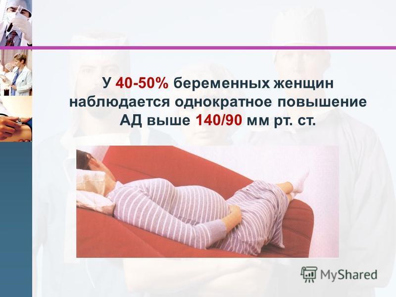 У 40-50% беременных женщин наблюдается однократное повышение АД выше 140/90 мм рт. ст.