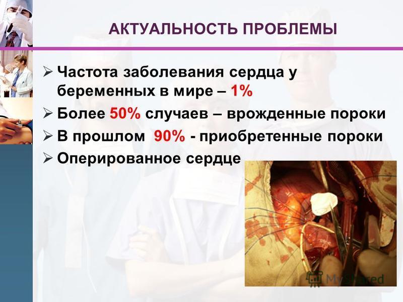 АКТУАЛЬНОСТЬ ПРОБЛЕМЫ Частота заболевания сердца у беременных в мире – 1% Более 50% случаев – врожденные пороки В прошлом 90% - приобретенные пороки Оперированное сердце