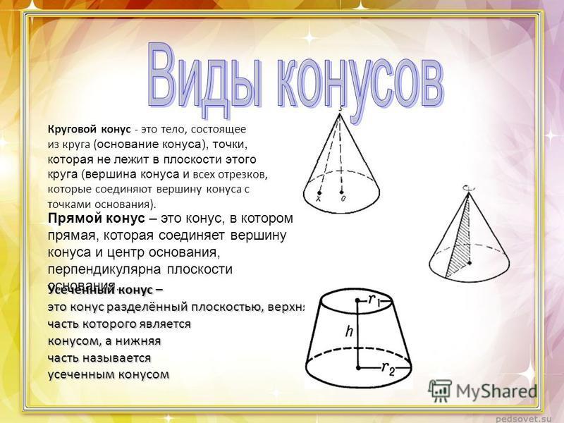 Круговой конус - это тело, состоящее из круга ( основание конуса), точки, которая не лежит в плоскости этого круга (вершина конуса и всех отрезков, которые соединяют вершину конуса с точками основания). Прямой конус – это конус, в котором прямая, кот