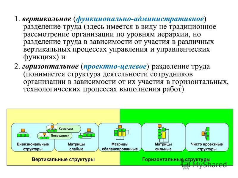 1. вертикальное (функционально-административное) разделение труда (здесь имеется в виду не традиционное рассмотрение организации по уровням иерархии, но разделение труда в зависимости от участия в различных вертикальных процессах управления и управле