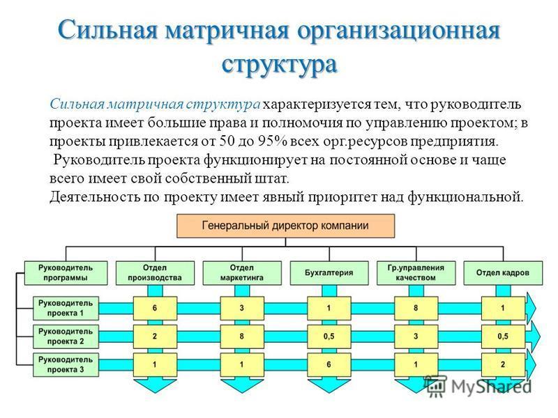 Сильная матричная организационная структура Сильная матричная структура характеризуется тем, что руководитель проекта имеет большие права и полномочия по управлению проектом; в проекты привлекается от 50 до 95% всех орг.ресурсов предприятия. Руководи