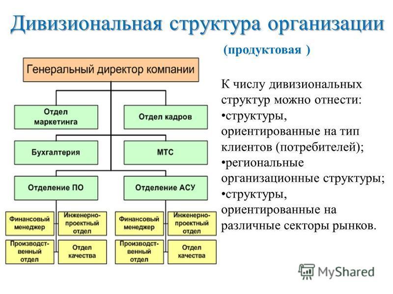 Дивизиональная структура организации К числу дивизиональных структур можно отнести: структуры, ориентированные на тип клиентов (потребителей); региональные организационные структуры; структуры, ориентированные на различные секторы рынков. (продуктова