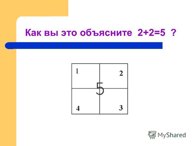 Как вы это объясните 2+2=5 ?