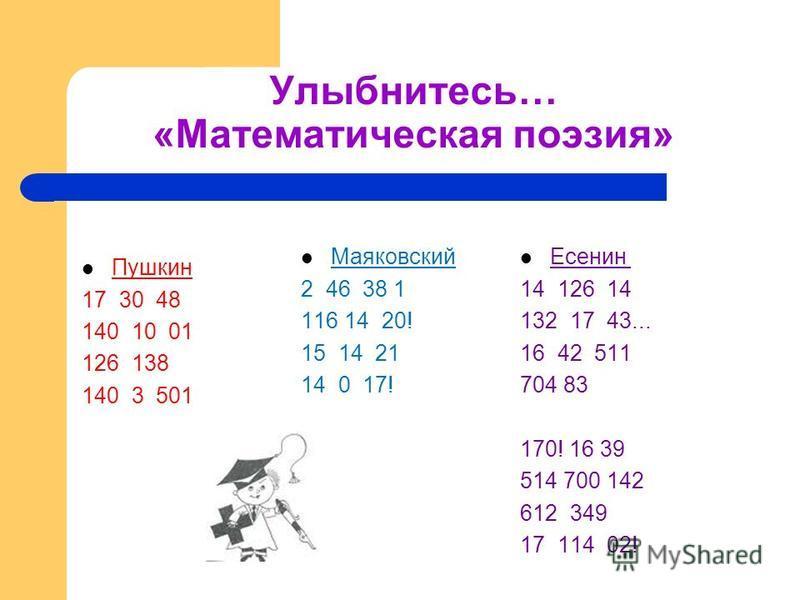 Улыбнитесь… «Математическая поэзия» Пушкин 17 30 48 140 10 01 126 138 140 3 501 Маяковский 2 46 38 1 116 14 20! 15 14 21 14 0 17! Есенин 14 126 14 132 17 43... 16 42 511 704 83 170! 16 39 514 700 142 612 349 17 114 02!