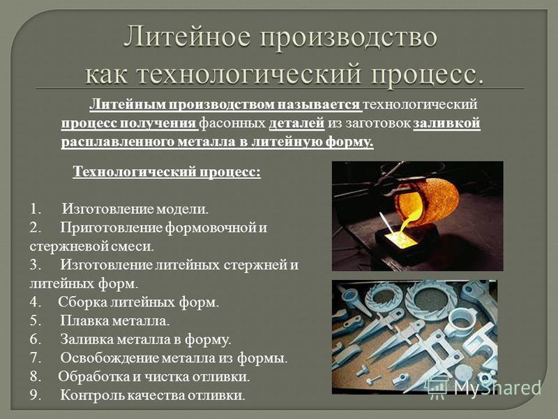 Литейным производством называется технологический процесс получения фасонных деталей из заготовок заливкой расплавленного металла в литейную форму. Технологический процесс: 1. Изготовление модели. 2. Приготовление формовочной и стержневой смеси. 3. И
