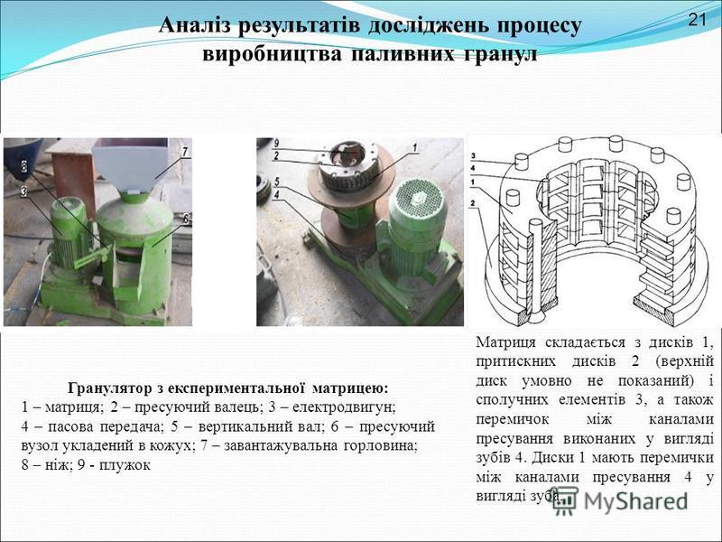 Гранулятор з експериментальної матрицею: 1 – матриця; 2 – пресуючий валець; 3 – електродвигун; 4 – пасова передача; 5 – вертикальний вал; 6 – пресуючий вузол укладений в кожух; 7 – завантажувальна горловина; 8 – ніж; 9 - плужок Матриця складається з