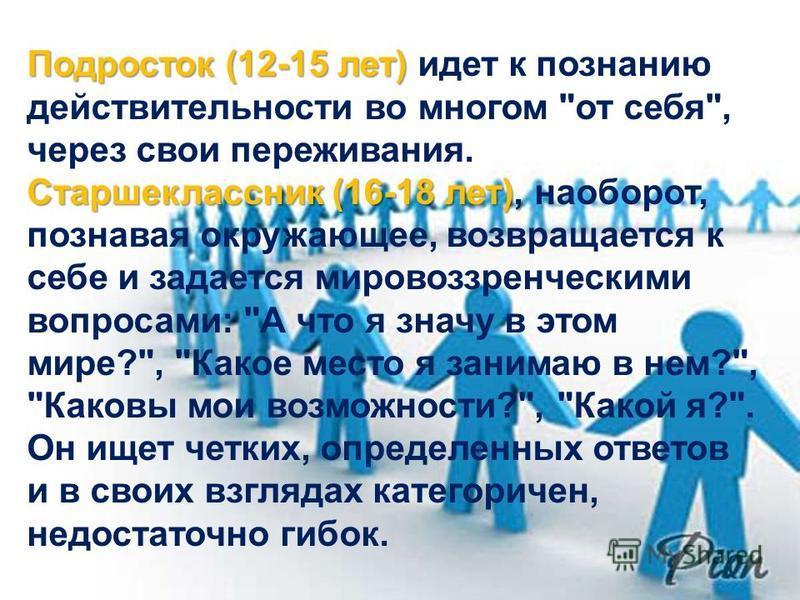 Подросток (12-15 лет) Старшеклассник (16-18 лет), Подросток (12-15 лет) идет к познанию действительности во многом