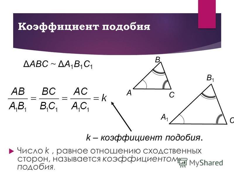 Коэффициент подобия Число k, равное отношению сходственных сторон, называется коэффициентом подобия. C Β A C1C1 A1A1 Β1Β1 ΔAΒC ~ ΔA1Β1C1ΔAΒC ~ ΔA1Β1C1 k – коэффициент подобия.