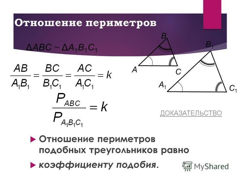 Отношение периметров Отношение периметров подобных треугольников равно коэффициенту подобия. C Β A C1C1 A1A1 Β1Β1 ΔAΒC ~ ΔA1Β1C1ΔAΒC ~ ΔA1Β1C1 ДОКАЗАТЕЛЬСТВО