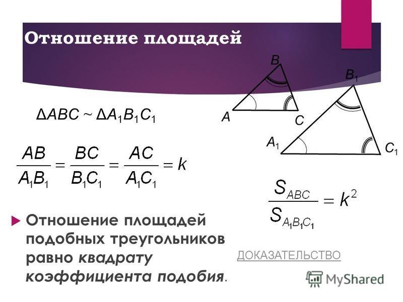 Отношение площадей Отношение площадей подобных треугольников равно квадрату коэффициента подобия. C Β A C1C1 A1A1 Β1Β1 ΔAΒC ~ ΔA1Β1C1ΔAΒC ~ ΔA1Β1C1 ДОКАЗАТЕЛЬСТВО