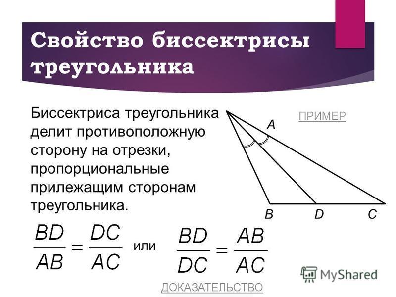 Свойство биссектрисы треугольника CB A Биссектриса треугольника делит противоположную сторону на отрезки, пропорциональные прилежащим сторонам треугольника. D или ДОКАЗАТЕЛЬСТВО ПРИМЕР