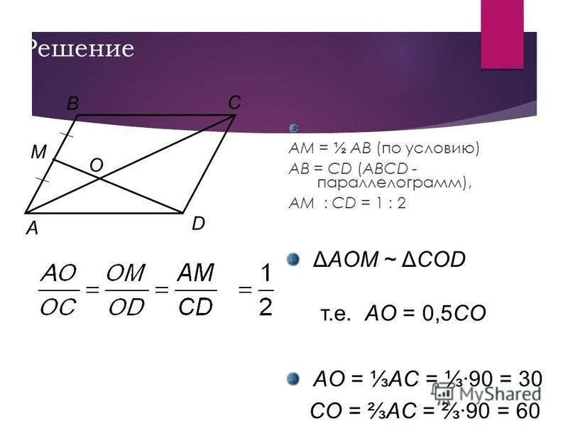 Решение. AM = ½ AB (по условию) AB = CD (ABCD - параллелограмм), AM : CD = 1 : 2 C M A O D B ΔAOM ~ ΔCОD т.е. AO = 0,5CО AO = AC = ·90 = 30 CO = AC = ·90 = 60