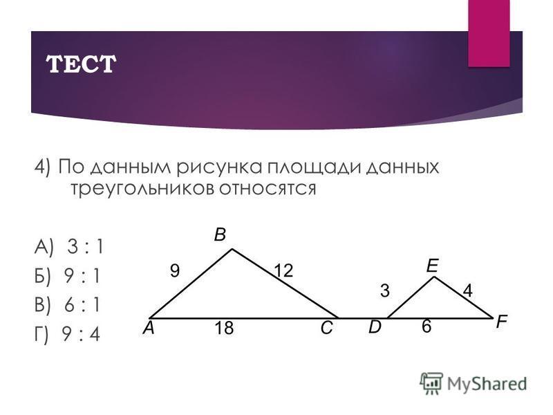 ТЕСТ 4) По данным рисунка площади данных треугольников относятся А) 3 : 1 Б) 9 : 1 В) 6 : 1 Г) 9 : 4 A B E C D F 12 9 43 18 6
