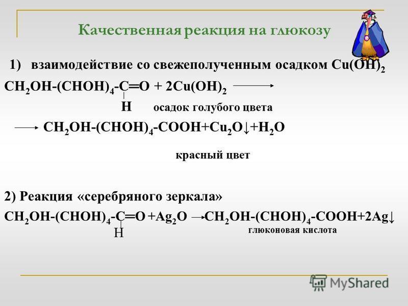 Качественная реакция на глюкозу 1) взаимодействие со свежеполученным осадком Cu(OH) 2 СН 2 ОН-(СНОН) 4 -СО + 2Cu(OH) 2 Н осадок голубого цвета СН 2 ОН-(СНОН) 4 -СОOH+Cu 2 O+H 2 O красный цвет 2) Реакция «серебряного зеркала» СН 2 ОН-(СНОН) 4 -СО +Ag