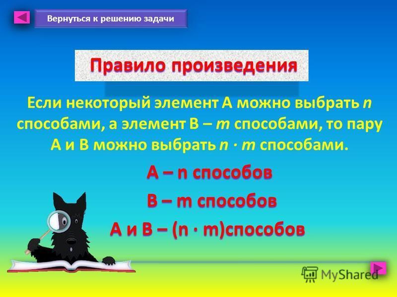 Правило произведения Правило произведения Если некоторый элемент А можно выбрать n способами, а элемент В – m способами, то пару А и В можно выбрать n m способами. A – n способов A – n способов В – m способов В – m способов А и В – (n m)способов Верн
